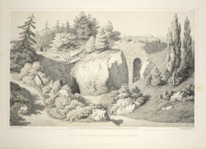 View of the entrance of the cave and stone bridge. From Central Park Album, 1862 / J. Rau, 381 Pearl St., N.Y. ; from nature by G. W. Fasel ; lith. by G. W. Fasel & E. Valois.