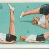 Exercises for women: leg raising and lowering.