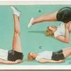 Exercises for women: leg raising and lowering.
