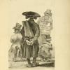 "Four men in hats and coats, viewed from the back, with one wearing  a signboard that reads: ""This day at 5 the grand golden lottery begins."""