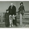Borden - Jeffers, Henry (Inventor of Rotolactor, President of Walker-Gordon) - With grandchildren and cow