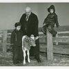 Borden - Jeffers, Henry (Inventor of Rotolactor, President of Walker-Gordon) - With grandchildren and cow