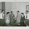 Children - Crippled Children's Outing - Grover Whalen, Elizabeth Addington (Welfare Dept. ) and American Express representatives in office