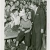 Contests - Tommy Dorsey congratulating pie-eating champion