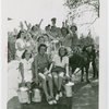 Contests - Milkmaid - Contestants with pails in horse drawn wagon