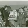 Elmer (NYWF mascot) - In front of airplane with hostess
