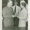 Doris Fontaine (American Airlines Stewardess) receives watch