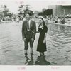 Fairgrounds - Visitors - Man and woman standing in Court of Light pool