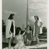 Fashion, World of - Models - Bathing Suits - Group at Court of Communication Fountain with Trylon and Perisphere in background