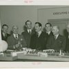 Finland Participation - Hjalmar Procope (ex-president, League of Nations), K.F. Altio, Grover Whalen and group look at model