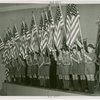 Flags - Boy Scouts - With American flags in assembly hall