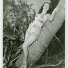 Florida Participation - Woman in bathing suit leaning on palm tree
