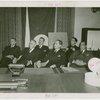 France Participation - Sir Gerald Campbell, David Dow, Julius Holmes, George de Ghika, Clair de Michel and Conrado Traverso listening to speech
