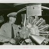 France Participation - Veterans - French veteran examining Air France engine