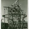 General Electric - Building - Workers constructing gyroscopic sphere for lightning bolt sculpture