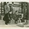 Glass Center - Grover Whalen and glass officials laying cornerstone