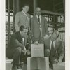 Glass Center - Grover Whalen and officials with glass block for cornerstone