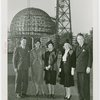 Hall of Pharmacy - Two men and three women in front of framework of Trylon and Perisphere