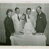 """Kentucky Day - Governor A.B. """"""""Happy"""""""" Chandler, Grover Whalen and group cut Kentucky Day cake"""