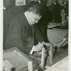 LaGuardia, Fiorello, H. - Operating silver screen machine