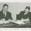 League of Nations - Grover Whalen and Arthur Sweetser sign contract