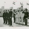 Luxembourg Participation - Prince Felix, Crown Prince Jean and Fiorello LaGuardia stand at attention