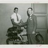 Maryland Day - Herbert O'Connor shaking hands with boy who rode from Baltimore to Fair