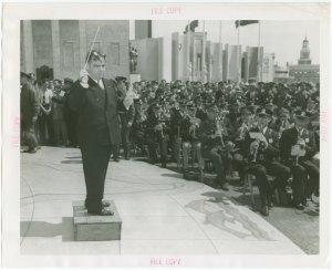 New York City - Police Dept. - Fiorello LaGuardia conducting Police and Fireman's Band