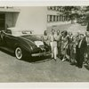"New York World's Fair - Employees - Females - Group standing next to """"just married"""" car"