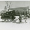 New York World's Fair - Employees - Females - Sledding - Women on horse-driven sled in front of Ford Building