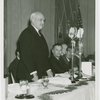New York World's Fair - Employees - Gibson, Harvey (Chairman of Board) - Close-up, speaking at luncheon