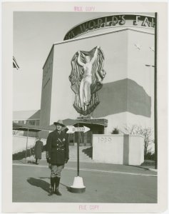 New York World's Fair - Employees - Police - Policeman in uniform in front of Administration Building