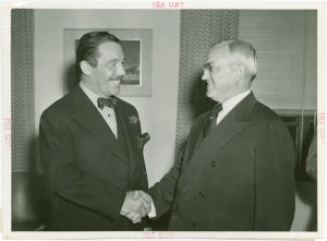 New York World's Fair - Employees - Whalen, Grover (President) - Shaking hands with Harvey Gibson