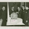 Nicaragua Participation - Nicaraguan statesmen inspect model of Trylon and Perisphere
