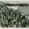 Opening Day - 1940 Season - Crowd in front of Long Island Rail Road station