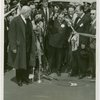 Opening Day - 1940 Season - Fiorello LaGuardia cutting ribbon as Grover Whalen and Harvey Gibson look on