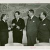 Peru Participation - Peruvian officials with Grover Whalen holding Trylon and Perisphere statue