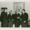 Peru Participation - Peruvian officials and Grover Whalen in front of Coat of Arms