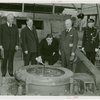 Petroleum - Fiorello LaGuardia priming the well with oil industry officials at dedication