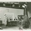 Radio Corporation of America (RCA) - Lenox R. Lohr (President of National Broadcasting Company), David Sarnoff (President of RCA) and Grover Whalen signing contracts while being filmed for television