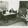 Radio Corporation of America (RCA) - Lenox R. Lohr (President of National Broadcasting Company), David Sarnoff and (President of RCA) and Grover Whalen signing contracts while being filmed for television