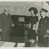"""Radio Corporation of America (RCA) - Harvey Gibson, """"""""Miss Television,"""""""" and James E. Robert standing with television"""