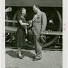 Railroads on Parade - Grover Whalen and Marguerite Temple (actress and one-millionth visitor to Coronation Scot) shaking hands