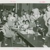 Special Days - Children's Day - Group at lunch table with clown