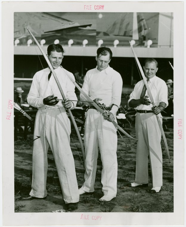 Sports - Archery - Three men with bows and arrows