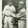 Sports - Baseball - Bill Terry showing Trylon and Perisphere emblem to Casey Stengel