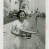 Sports - Miniature Boat Racing - Girl with model sailboat