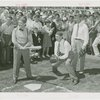 Sports - Whalen, Grover - Playing baseball with Bill Dickey and Lou Gehrig as crowd watches