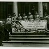 Ticket Sales - Harvey Gibson and Fiorello LaGuardia with cashiers holding giant ticket