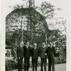 Turkey Participation - Group of officials in front of framework of Trylon and Perisphere